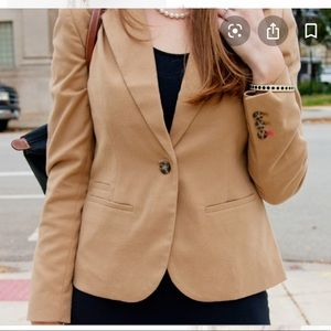 F21 tan one button blazer